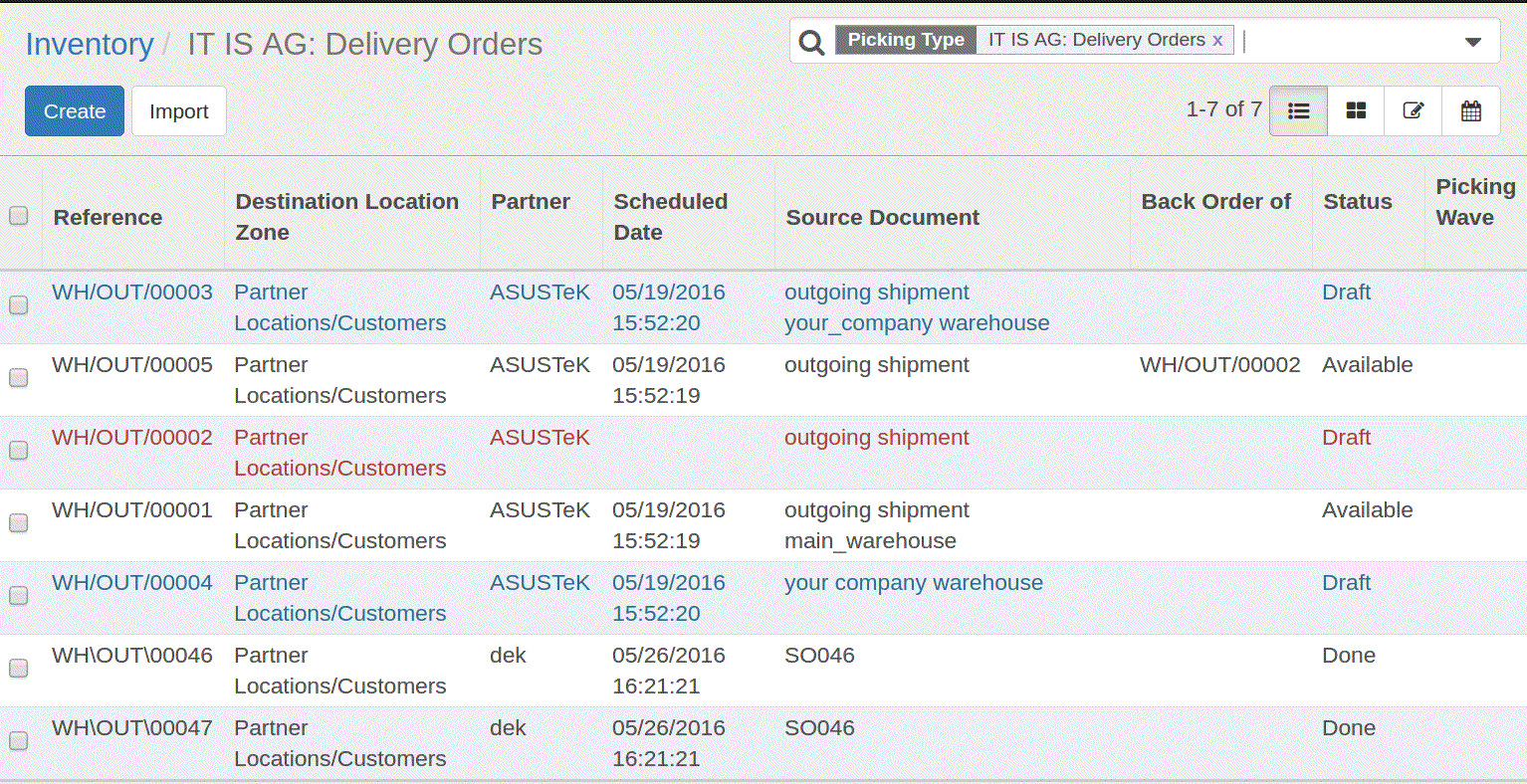 delivery orders of stocks in odoo