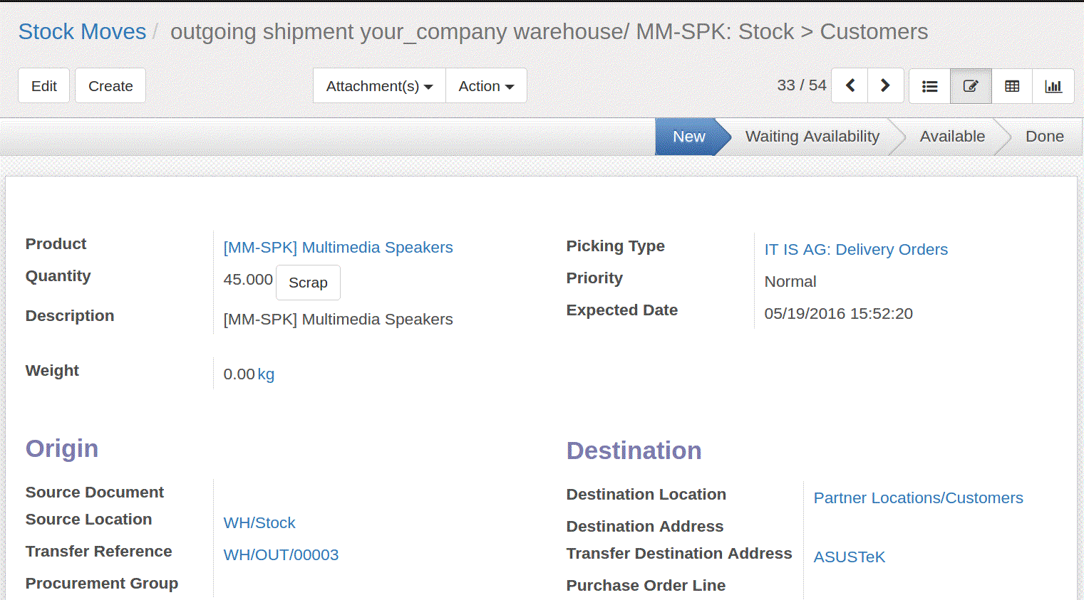 stock movements in odoo