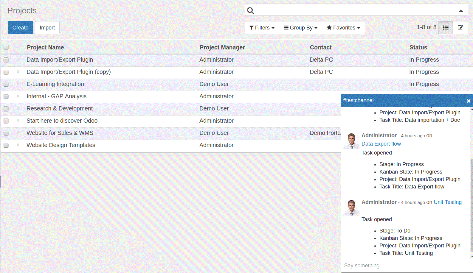 chat screen-odoo