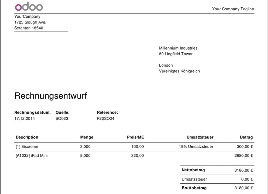 IT IS Odoo | Statische Adressen in Angeboten, Aufträgen und Rechnungen